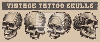 Set of black and white illustration of skulls