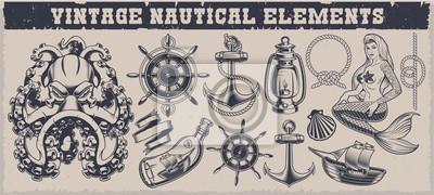 Set of black and white vintage nautical elements