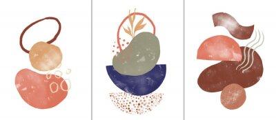 Plakat Set of digital art illustrations, contemporary minimalist abstract modern