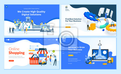 Plakat Set of flat design web page templates of  web development, business apps and solutions, startup, online shopping. Modern vector illustration concepts for website and mobile website development.
