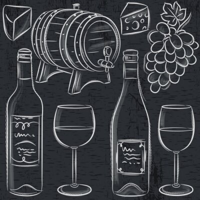 Plakat set of glases and bottles for wine on blackboard, vector