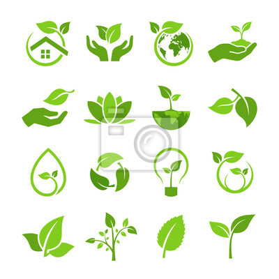 Plakat set of green leaves with concept ecology and environmental