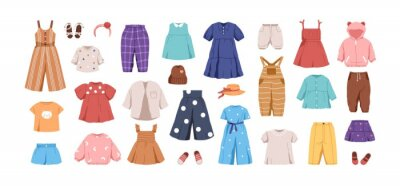 Plakat Set of kid's casual clothes. Child's garments for summer. Apparel, shoes and accessories for boys and girls. Colored flat vector illustration of dress, pants, jumpsuit isolated on white background