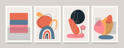 Plakat Set of minimalistic geometric art posters with elements of geometric shapes and lines. Modern contemporary creative trendy abstract templates vector illustration.
