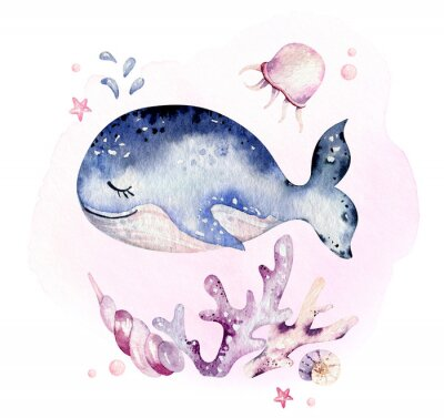 Plakat Set of sea animals. Blue watercolor ocean fish, turtle, whale and coral. Shell aquarium background. Nautical marine hand painted illustration.