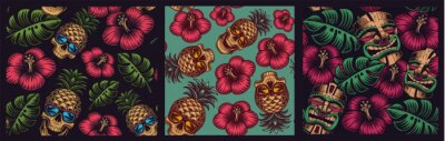 Plakat Set of seamless colored patterns in Hawaiian style with skull pineapple, tiki mask.