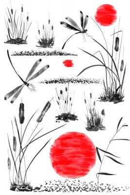 Plakat Set of sun,   bulrush, grass and dragonflies.  Watercolor and ink illustration in style sumi-e, u-sin, go-hua. Oriental traditional painting. Isolated .