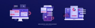 Plakat Set of vector illustrations on the theme of web design and development. Smartphone, laptop, and monitor with interface elements on a blue background. Mobile app development concept.