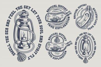 Set of vintage marine illustrations black and white