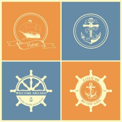 Plakat Set Of Vintage Retro Nautical Badges And Labels