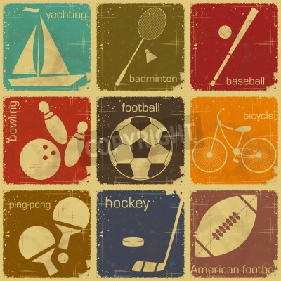 Plakat set of Vintage Sport separate  Labels - Retro Signs with Grunge Effect in colo