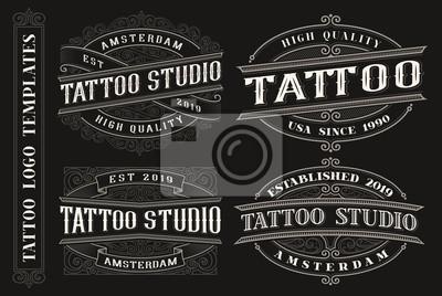 Set of vintage tattoo emblems, logos, badges.