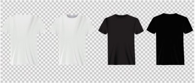 Plakat Set of white and black t-shirts on a transparent background. Classic shirts, casual wear.