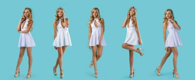 Plakat set of young curly blonde woman in white dress posing on blue background