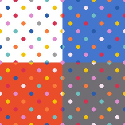 Set seamless color pattern with Polka, vector fashion background