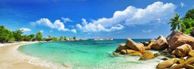 Plakat Seychelles, plaża panorama