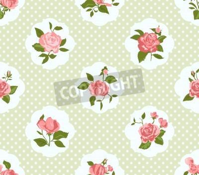 Plakat Shabby Chic Rose sygnatur i bez szwu tła. Idealna do druku na tkaninie i papier lub rezerwacji złomu. Domek elegancki styl.