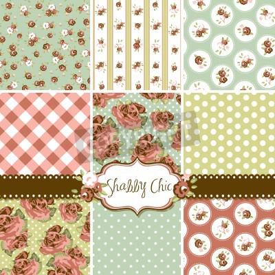 Plakat Shabby Chic Rose wzorów i bezszwowe tło. Idealna do druku na tkaninie i papier lub rezerwacji złomu.