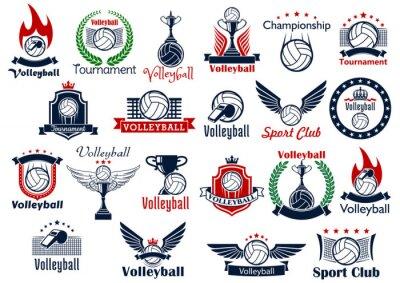 Plakat Siatkówka gry sportowe ikony i symbole
