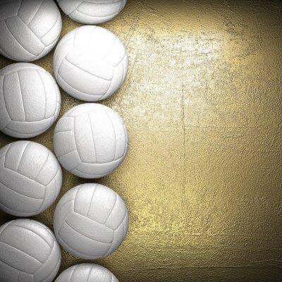 Plakat Siatkówka i piłka tle ściany złoty