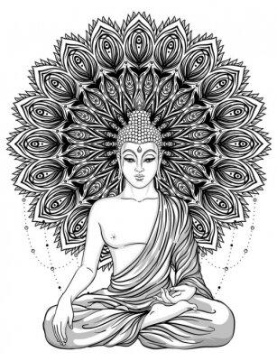 Plakat Siedząc Budda nad Kwiatowiec Kwiatowiec. Esoteric vintage ilustracji wektorowych. Indian, buddyzm, sztuka duchowa. Tatuaż Hippie, duchowość, bóg tajski, joga zen