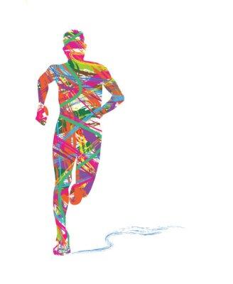 Plakat silhouette astratta di uomo che corre