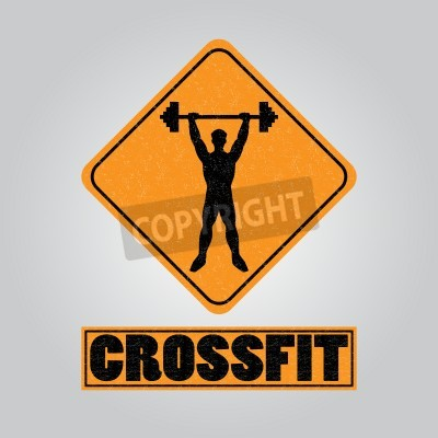 Plakat Silhouette of a man with a barbell in his hands. icon for the gym, the competition or as a sticker on the T-shirt.