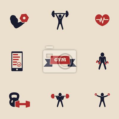 siłownia i fitness ikony ustaw 2