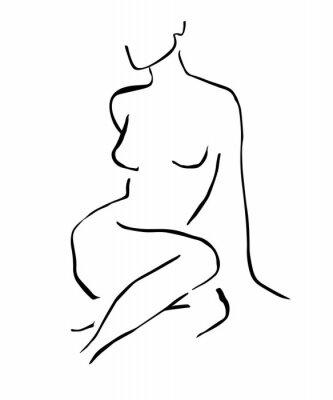 Plakat Simple hand drawn trendy line silhouette woman. Modern minimalism art, aesthetic contour. Abstract women's silhouette, minimalist style. Scandinavian print