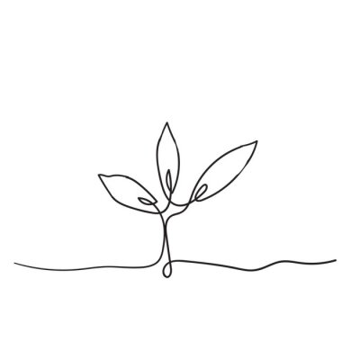 Plakat Single continuous line art growing sprout handdrawn doodle style
