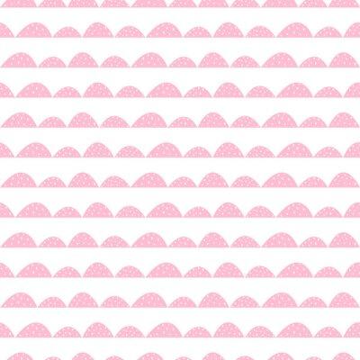 Plakat Skandynawski szwu różowy wzór w parze narysowanych stylu. Stylizowane rzędy Hill. Fala prosty wzór do tkanin, tkanin i bielizny niemowlęcej.
