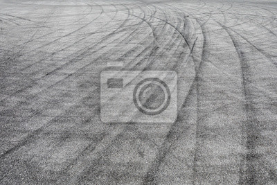 Plakat Skid marks tire marks on motor race track asphalt international circuit.shoot down view.