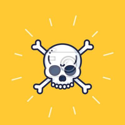 skull and bones vector art, danger sign