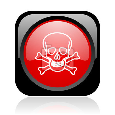 skull black and red square web glossy icon