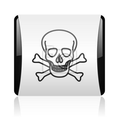 skull black and white square web glossy icon