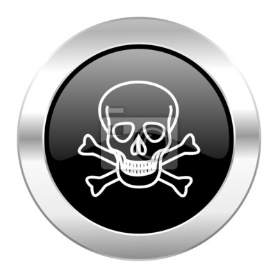 skull black circle glossy chrome icon isolated