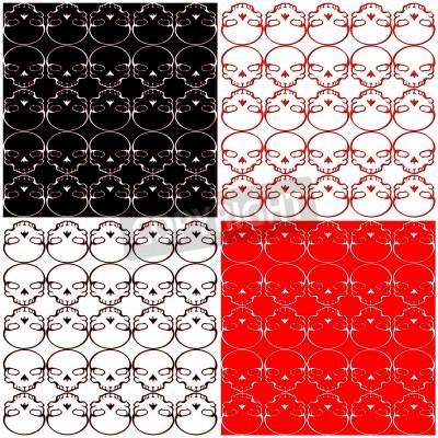 Skull Black Red White Background Vector wzór