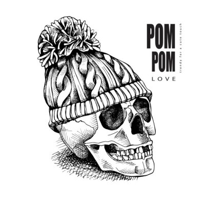 Skull in a hipster knitted hat with pom pom. Vector illustration.