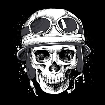 Skull in a motorcyclist helmet. Vector illustration.