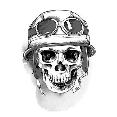 Skull in retro motorcyclist helmet. Vector illustration.