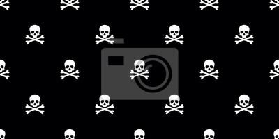 Skull seamless pattern bone Halloween pirate isolated wallpaper background