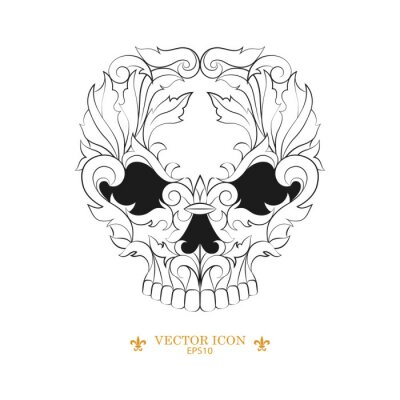 Skull tattoo vector icon. vector illustration of a silhouette of a skull. black tattoo