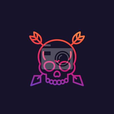 Skull with arrows vector linear icon