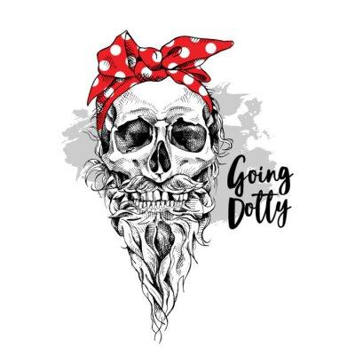 Skull with beard and mustache in a red polka dot headband. Vector illustration.