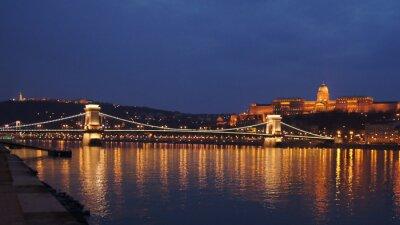 Plakat Skyline Budapest Chain Bridge