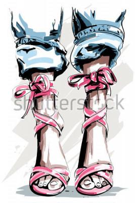 Plakat Śliczne ręcznie rysowane nogi w butach. Piękne letnie buty. Akcesoria modowe. Naszkicować. Ilustracji wektorowych.