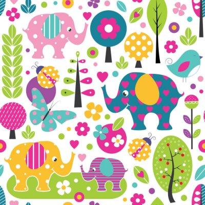 Plakat Śliczne słonie, biedronki, motyle i ptaki w lesie kolorowe wzór