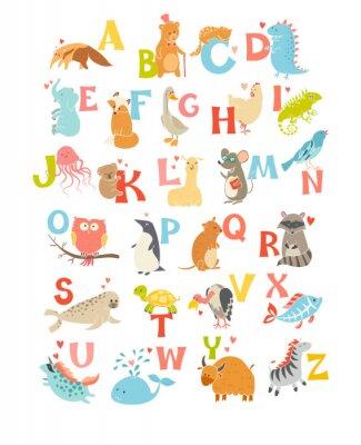 Plakat Śliczne wektor zoo alfabetu. Śmieszne zwierzęta kreskówek. Ilustracja wektora EPS10 na białym tle. Listy. Naucz się czytać