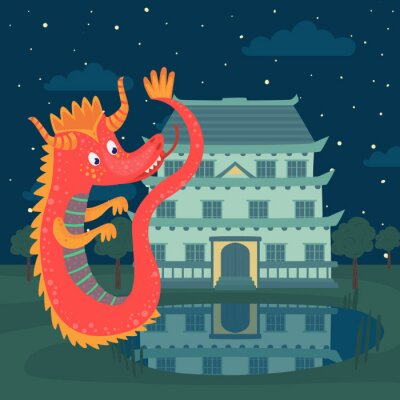 Plakat Śliczny czerwony smok obok kasztelu przy nocą, bajki opowieść dla dziecko wektoru ilustraci