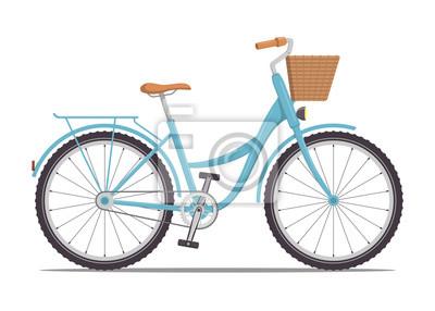 Plakat Śliczny rower damski z niską ramą i koszem z przodu. Vintage rower. Ilustracja wektorowa w stylu płaski.